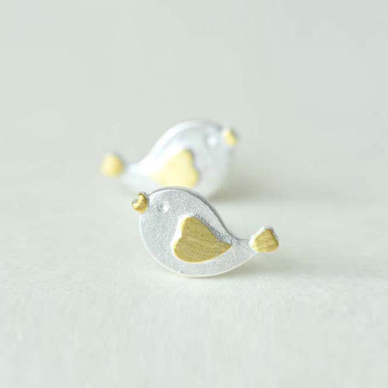 Cute Baby Bird Charm 925 Sterling Silver Earrings For Women Lovely Animal Golden Heart Wing Post Stud Earrings Wholesale Jewelry
