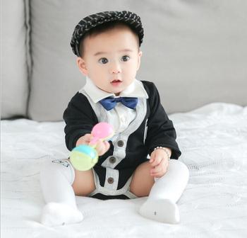 beb8a90e5a49e S33756W Baby Gentleman Rompers infant Suit For Wedding Newborn Boys Jumpsuit