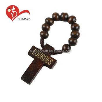 Huanan Brown Color Catholic Jesus Cross Natural Wooden Cord Ring ...