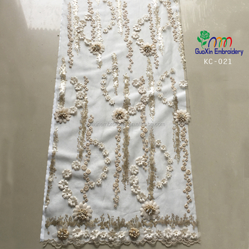 2018 crystal lace fabric with 3D flower for garment wholesale