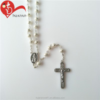High Quality Sliver Beads Catholic Centerpiece Chain Rosary Necklace