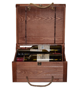 high quality wooden leather wine carrier wine box