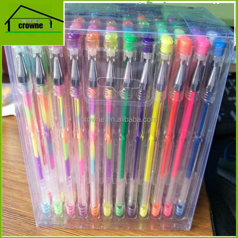 Wholesale ART CRAFT GLITTER METALLIC NEON GEL PEN SET 48 60 72 96 100 120 ASSORTED PVC BOXAS SEEN ON TV