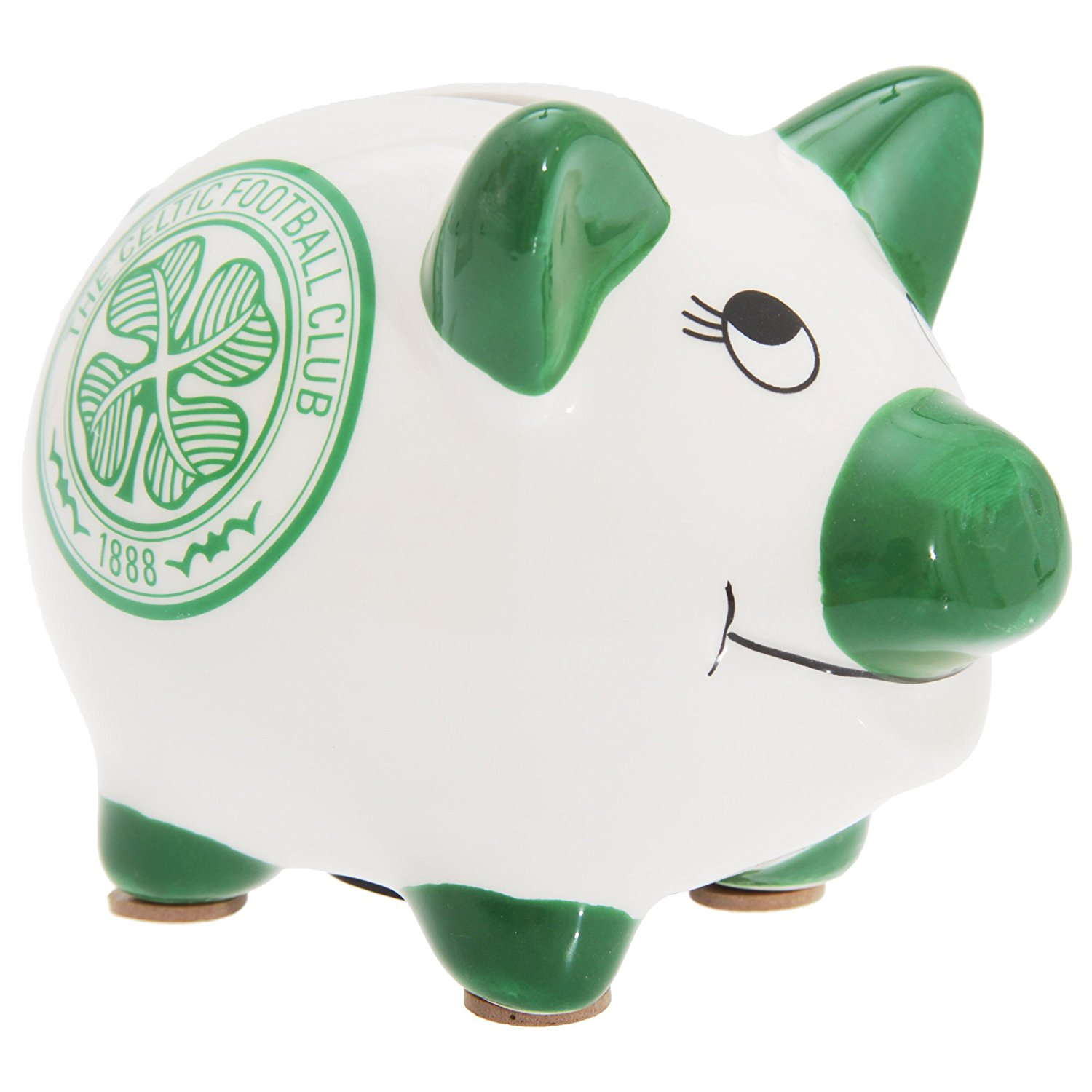 Celtic FC Official Ceramic Football Crest Piggy Bank (One Size) (White/Green)
