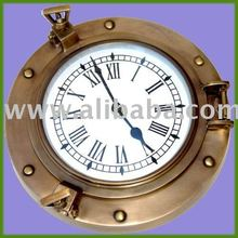 Porthole Clock Solid Antique Brass Ships 9 Inch Maritime Clocks