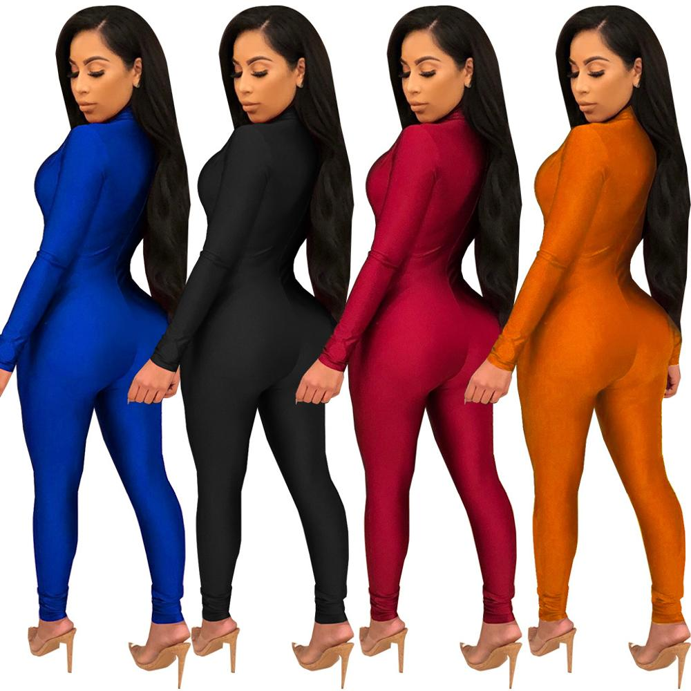 MOQ 1PC FC-3384 Autumn Spring women deep V neck long sleeve one piece club wear sexy bodycon jumpsuits