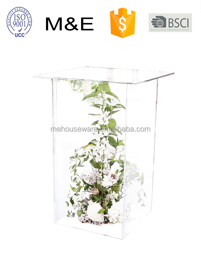 Tall Wedding Acrylic Box Pillar And Flower Stand For Decotation Wedding Road