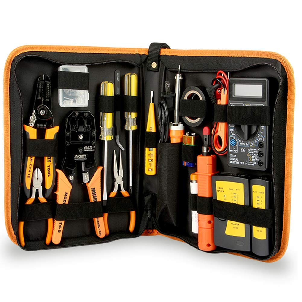 Professional Network Tools, 17 in 1 Network Repair Kits, Computer Maintenacnce Device Repair, Zipper Storage Case, Great Gift Idea for He Which You Love The Most.