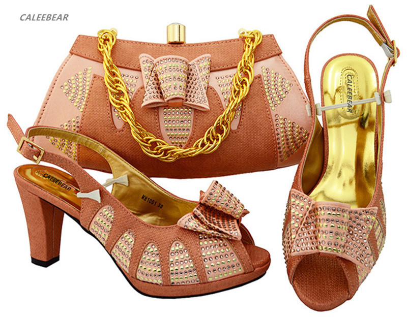 Peach set matching For bag bags shoes and shoes women ladies evening Party shoes with Italian XxUqrAzX
