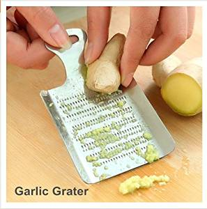 Smart Kitchen Supplies Garlic Grater Stainless Steel Metal Garlic Press Cooking Tools/ 2 Pieces