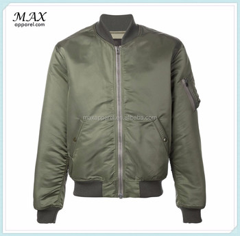 Clothing Manufactures Olive Green Bomber Jacket Stand Up Collar ...