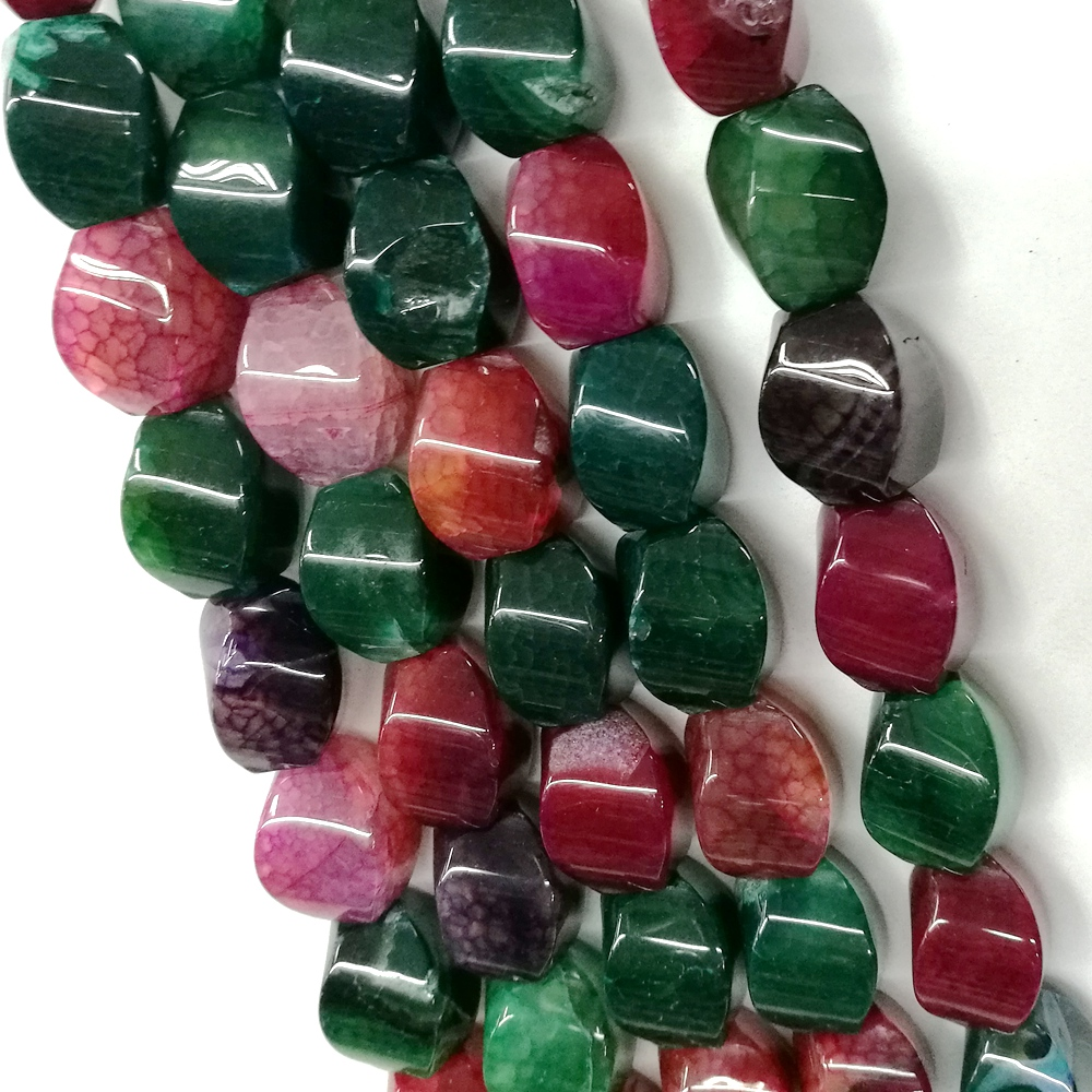 Gemstone green and red multicolor twisted nugget shape agate strand Beads