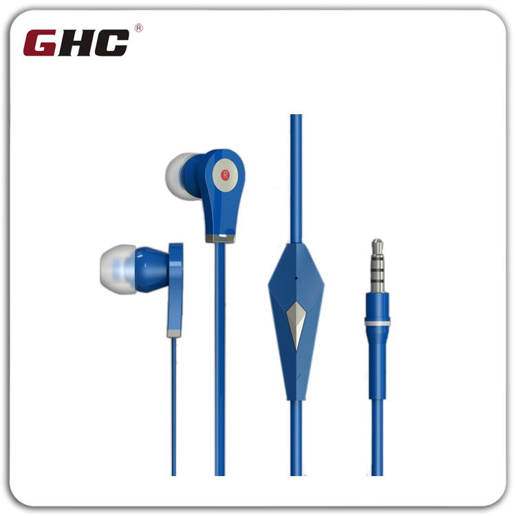 3.5mm glowing flat earphone &earbud with mic for mobile phone from shenzhen manufacturer