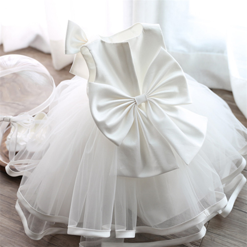 White Toddler Chiffon Christening Gown 1 Year Old Baby