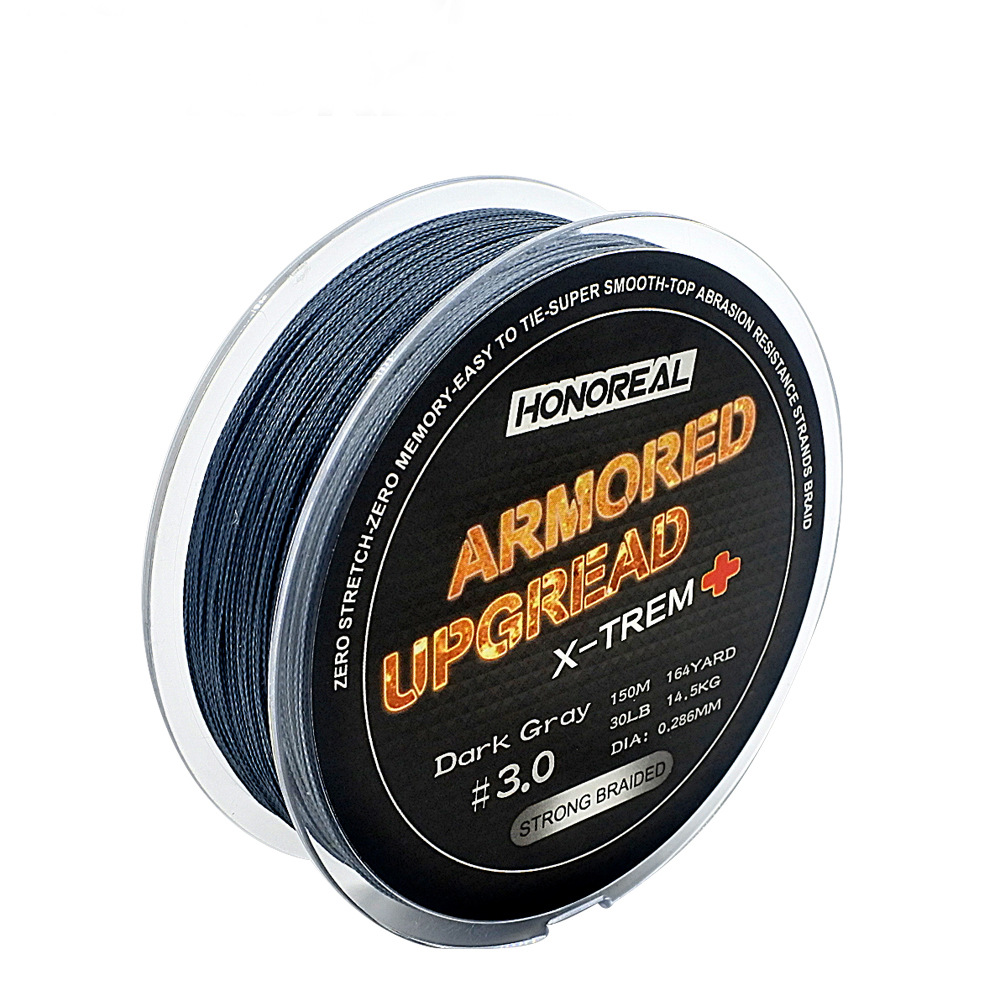 Super Strong 150M Dark Grey 4 Braid PE Fishing Line, Dark grey and olive green