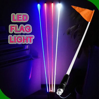 Wireless Color Changing Lighting For Car Decorate Pole Fiber Optic Led Lighted Flag With Milk