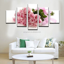 5 Pieces Pink Rose Floral Modern Decorative Canvas Art Prints Painting Home Wall Decor For Wedding Room Artwork