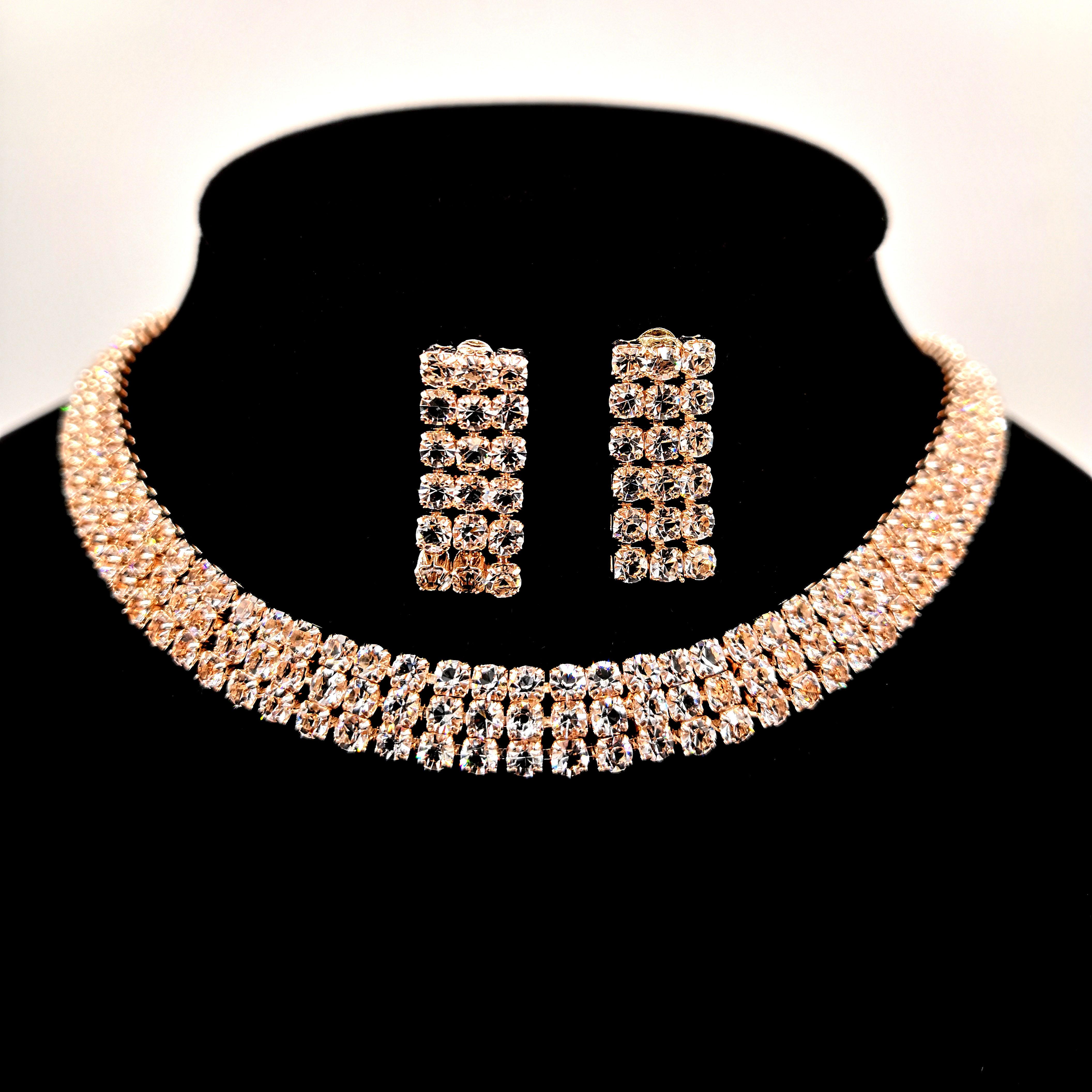 Rhinestone choker necklace set silver zirconia pave necklace jewellery set costume choker jewelry фото