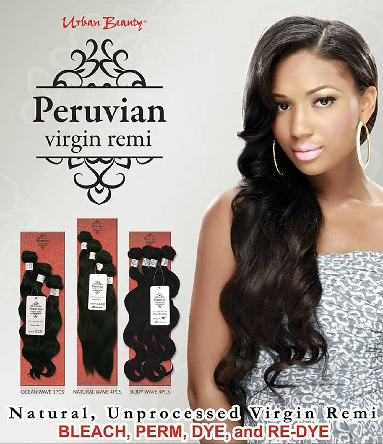 "Urban Beauty Peruvian Virgin Remi 100% Virgin Remi Hair Natural Straight 4 bundles12""14"" 14"" 16"" in the Pack (18"" 20"" 22"" 24"", Body Wave)"