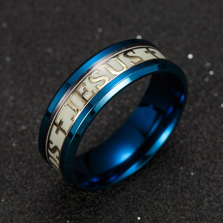 2019 New Arrival Fashion Creative Glow In The Night Luminous Jesus Ring Stainless Steel Christian Ring
