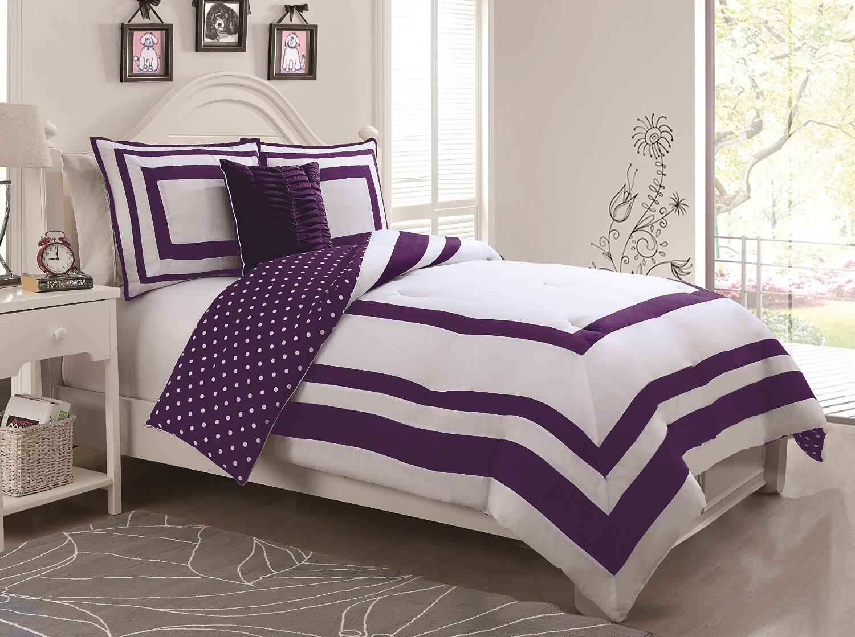 Get Quotations Geneva Home Fashion 4 Piece Hotel Juvenile Reversible Polka Dot Comforter Set Full