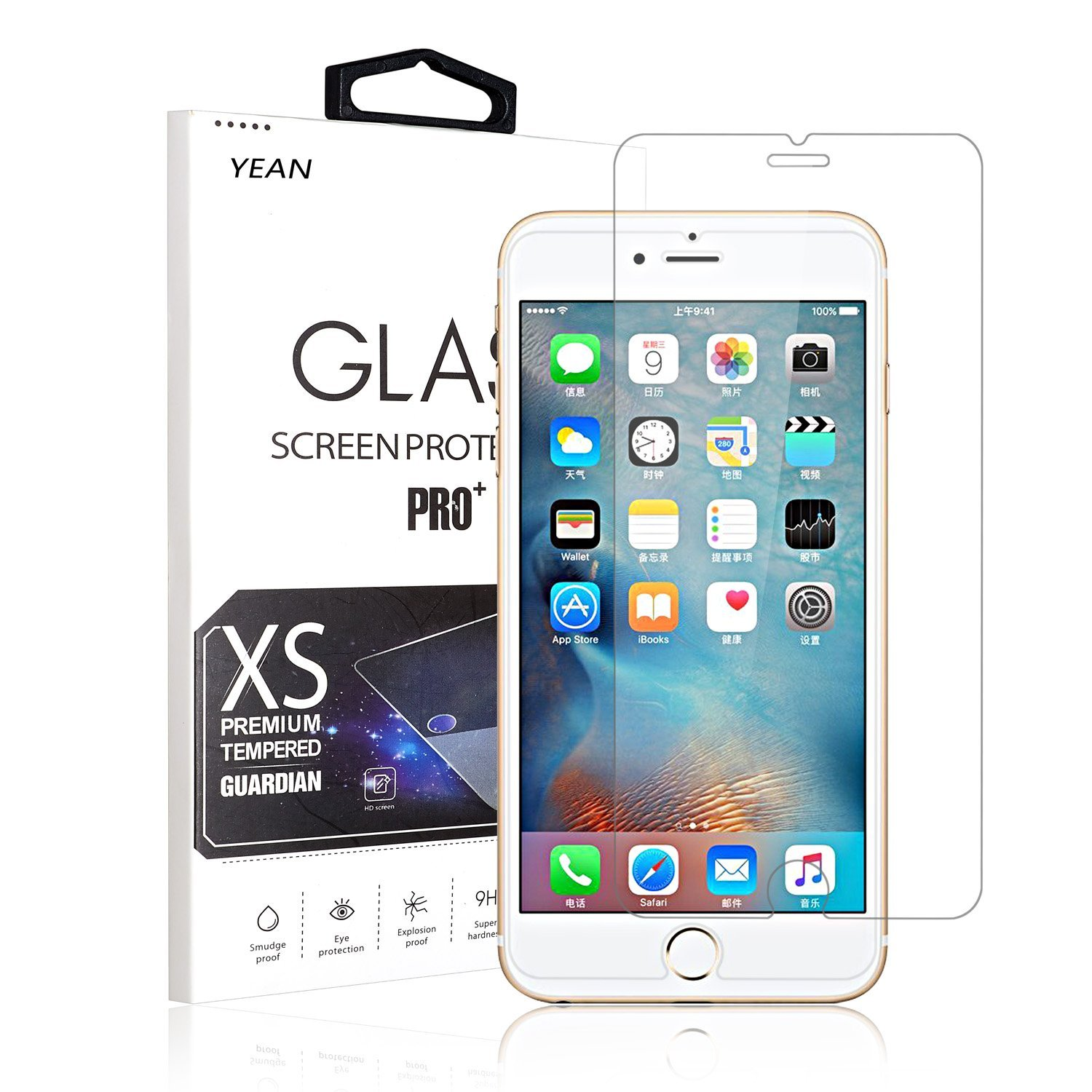 iPhone 6S Plus Screen , YEAN 2- Pack Tempered Glass Screen Protector for Apple iPhone 6S Plus/7 Plus [0.26mm Thickness][HD Clear Tempered Glass][3D Touch Compatible][9H Hardness]