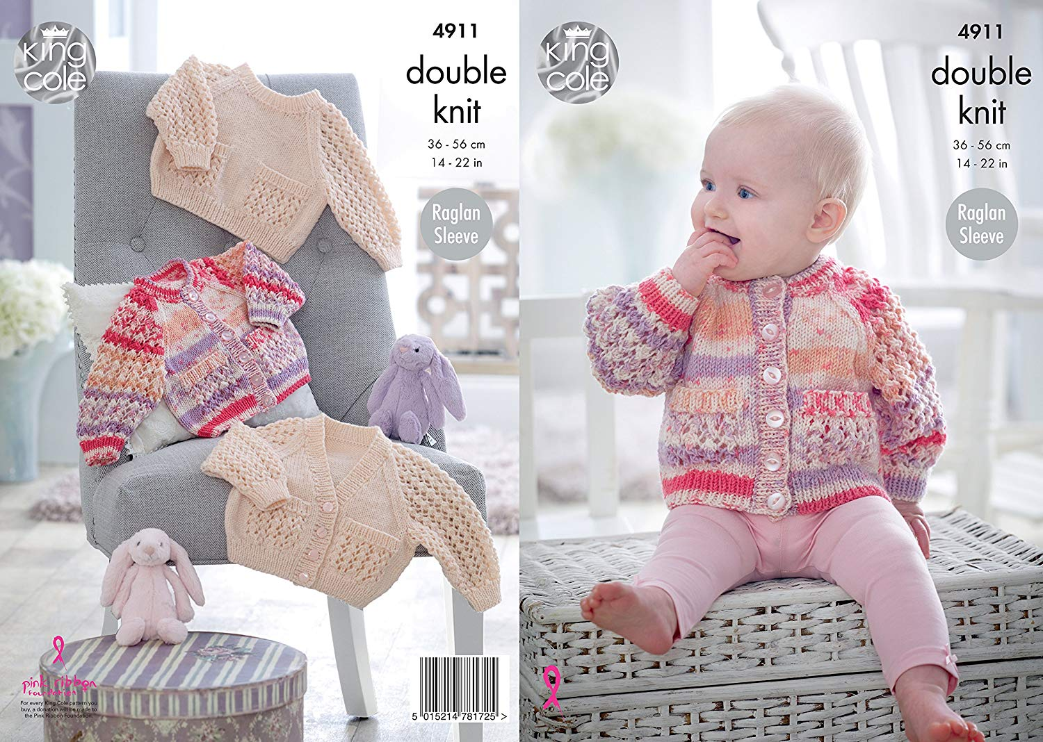 12a09badb38353 Get Quotations · King Cole Baby Double Knitting Pattern Raglan Sleeve  Cardigans   Sweater (4911)
