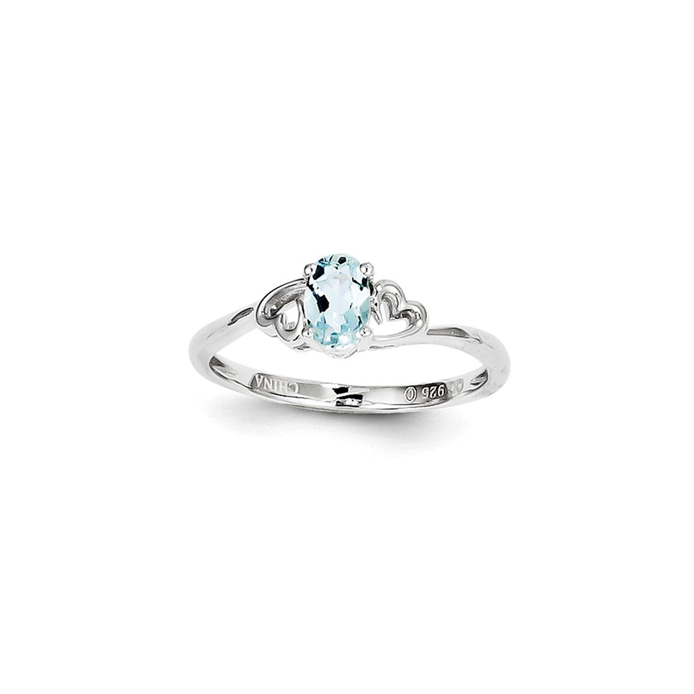 Best Designer Jewelry Sterling Silver Rhodium-plated Aquamarine Ring