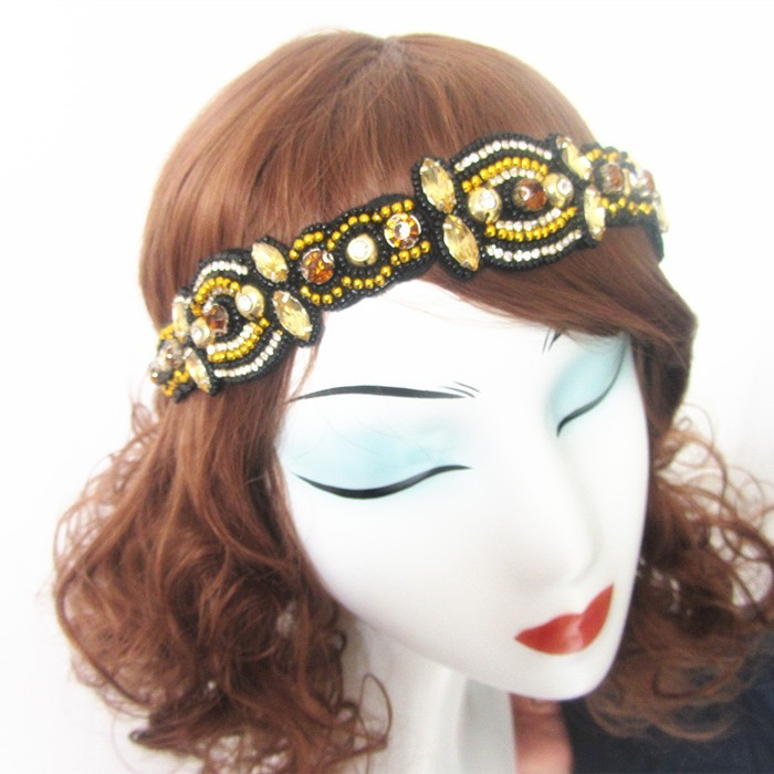 Wholesale Luxury Rhinestone Yellow Seed Bead Headband Elastic Stretch Accessory Hair Band