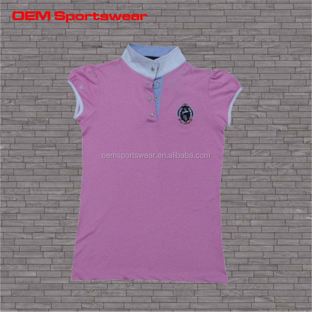 Plain pink color blank sleeveless women polo shirt