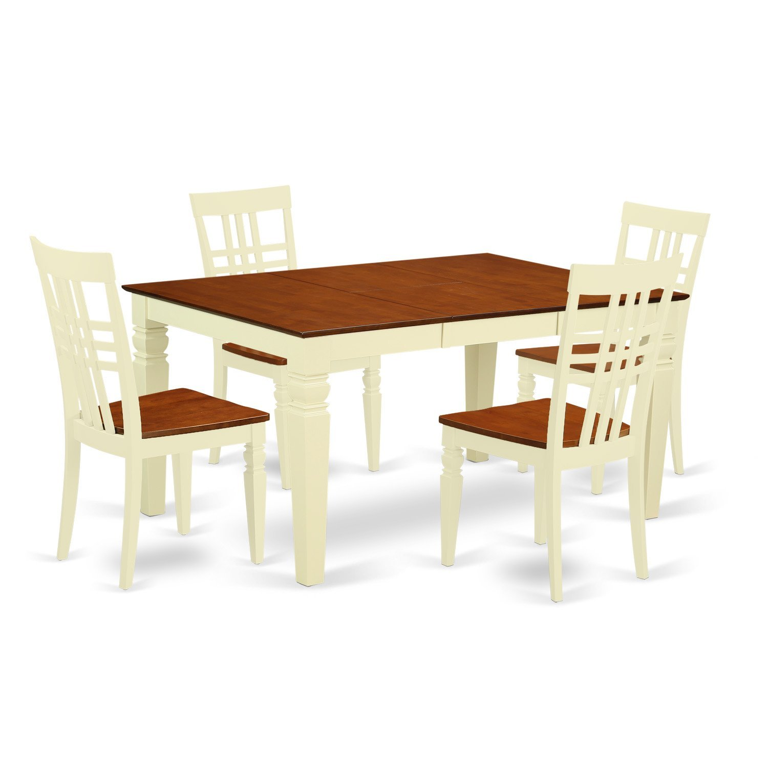 East West Furniture Weston WELG5-BMK-W 5 Pc Kitchen Set with a Dinning Table and 4 Wood Dining Chairs, Buttermilk and Cherry