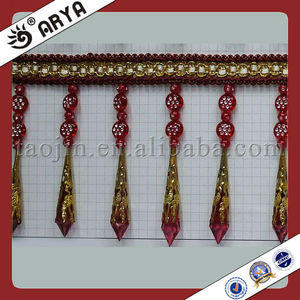 Long Hanging Acrylic Beaded Fringe Bead Trims Fringes For Shawls