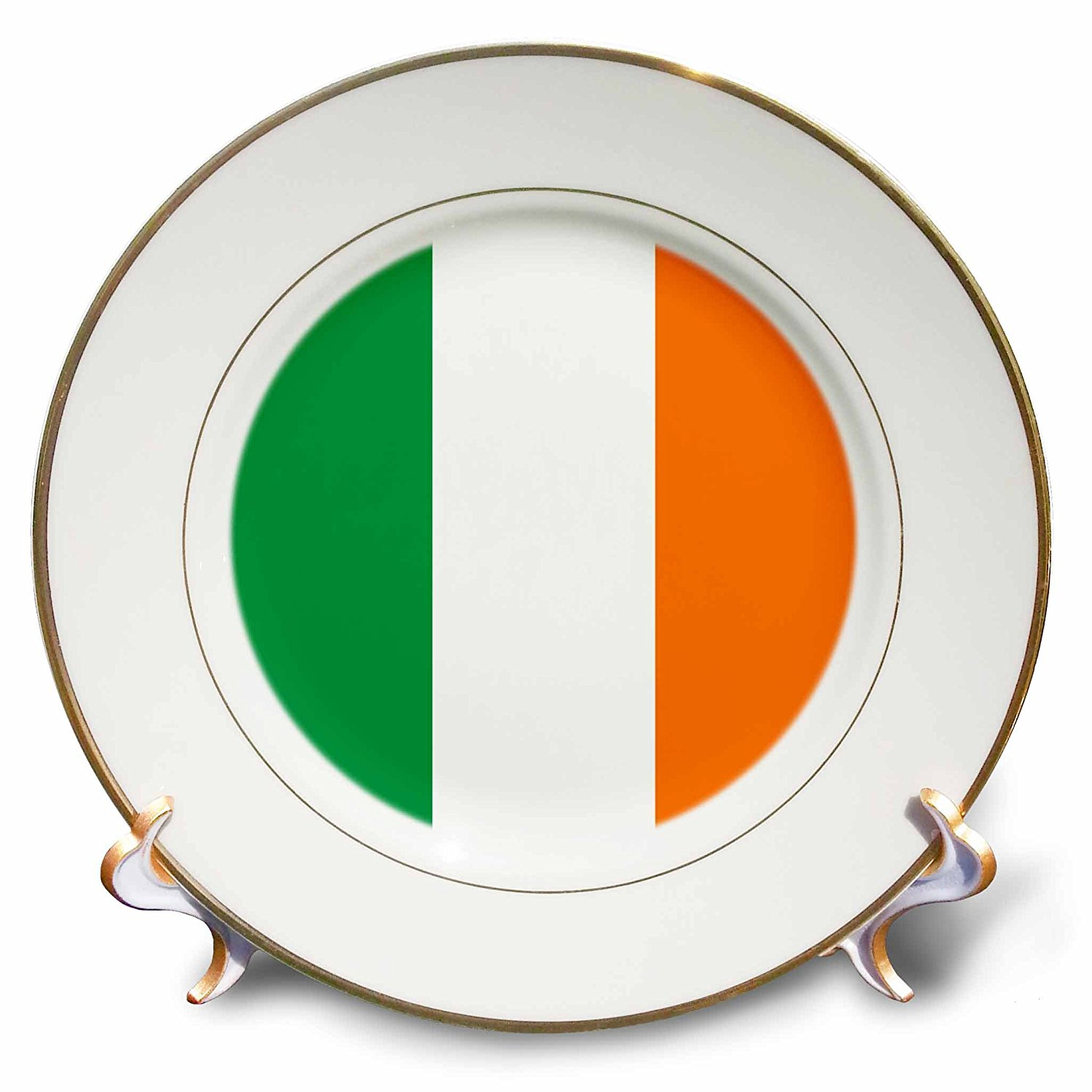 3dRose cp_158340_1 Flag of Ireland Irish Green White Orange Vertical Stripes United Kingdom Uk World Country Souvenir Porcelain Plate, 8""