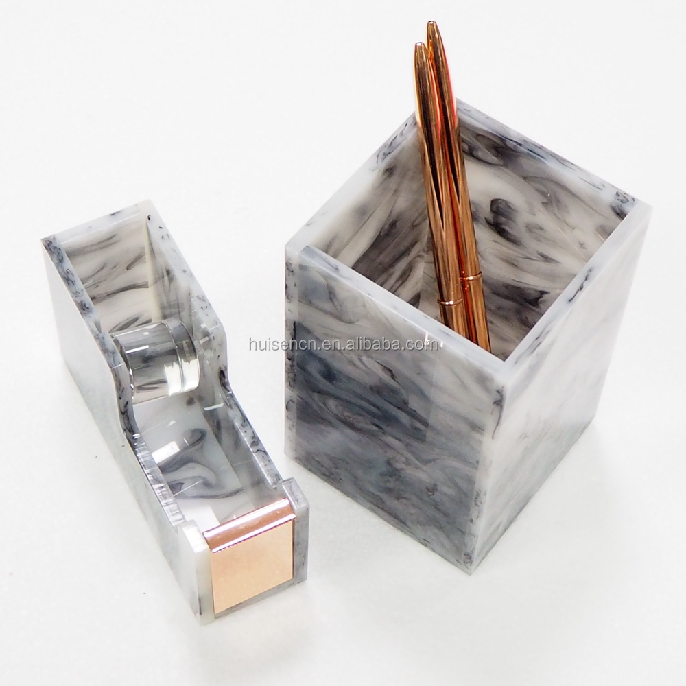 High Quality Marble Tape Dispenser Office Marble Pen Holder with Rose Gold Metal