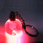 3D globe ball bead crystal led light keychain key ring key holder