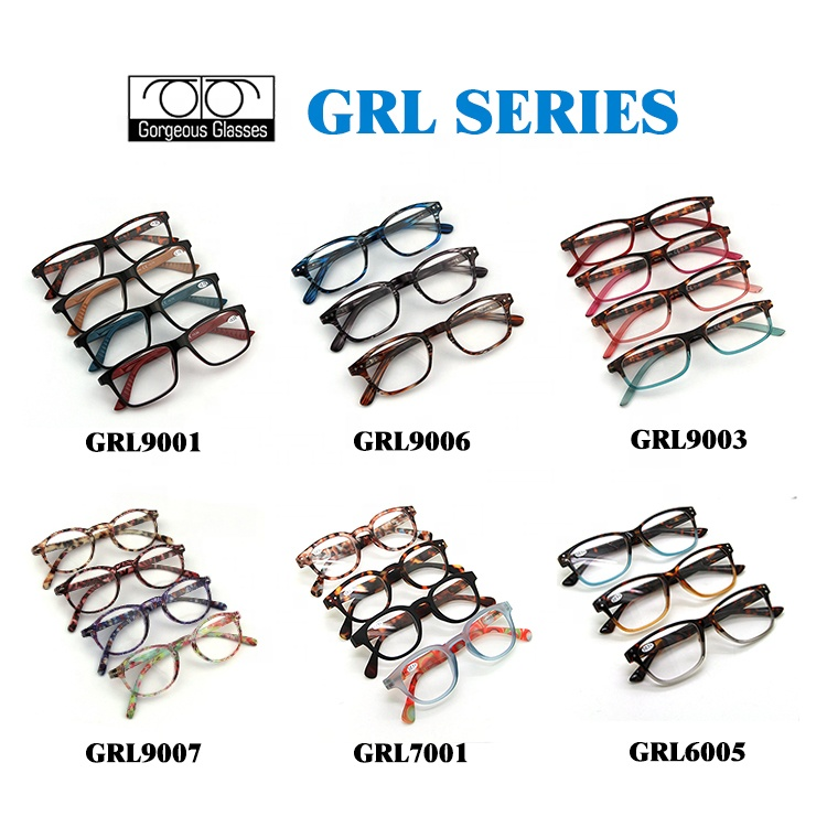 Factory supply custom logo OEM fashion different styles color plastic women men reading glasses