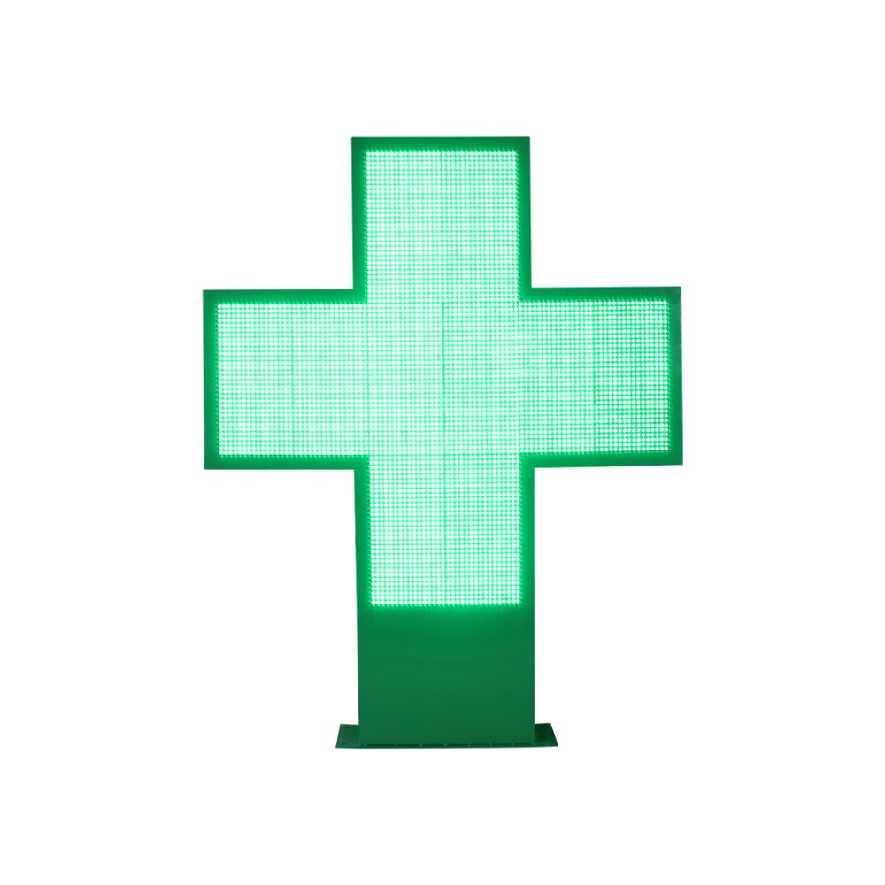 Hidly uso al aire libre de doble cara 96*96 cm Color verde programable farmacia Cruz LED apoyo texto animación de vídeo