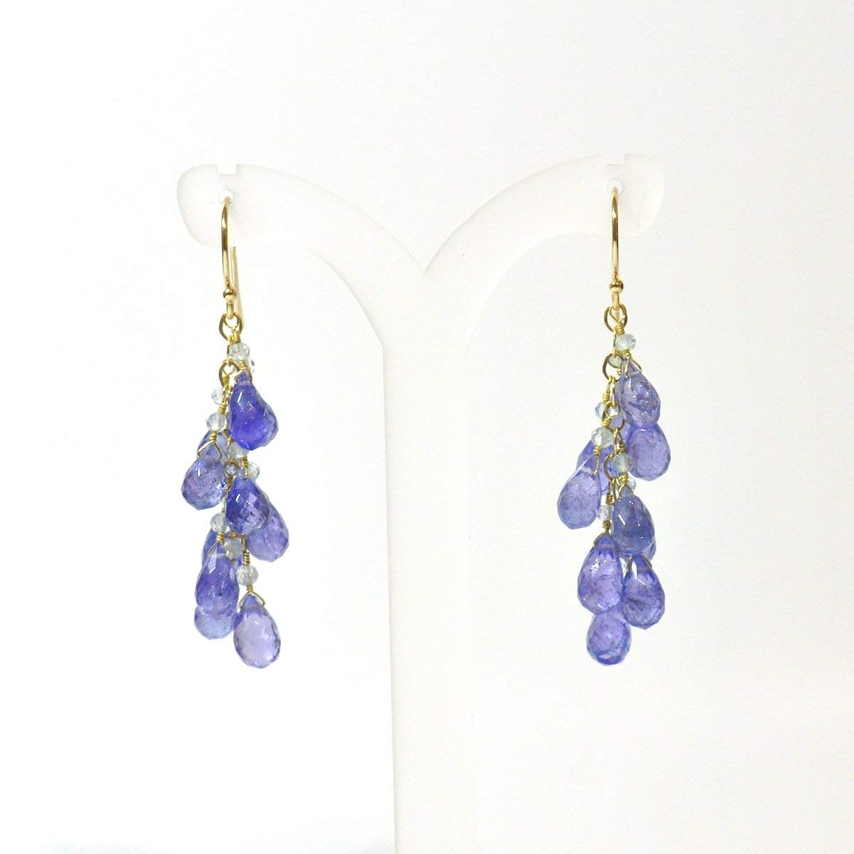14K Gold. Tanzanite earrings, December Birthstone Earrings, Tanzanite & Sky Blue Topaz Earrings, Purple Blue Stone Earrings, Gift For Her