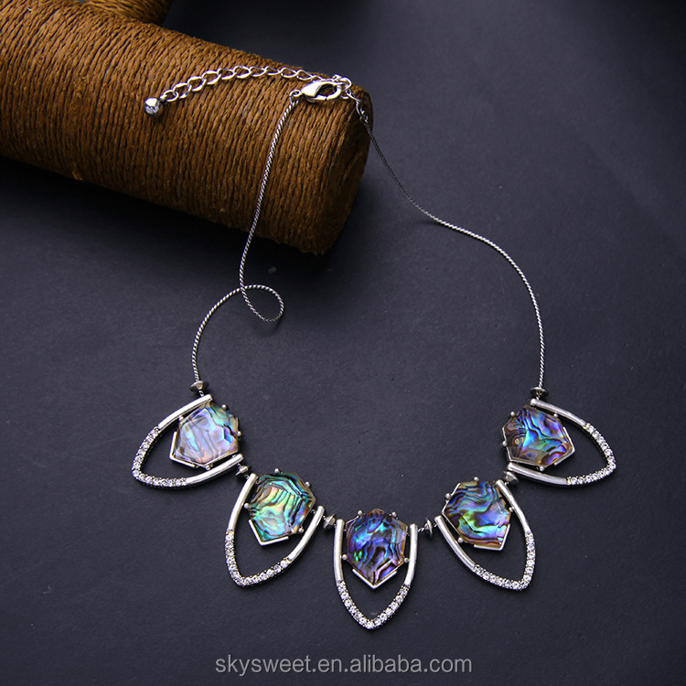 Imitation Abalone Shell Shield shaped concept fancy silver necklace(PR1399)