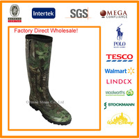 Wholesale Stock!! High quality waterproof outdoor/hunting camouflage muck rubber rain boots with zipper for men