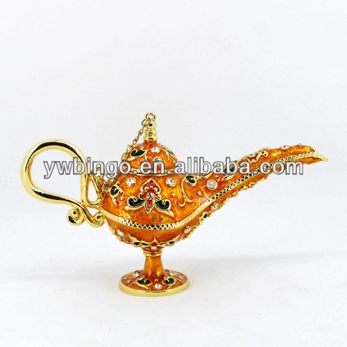 2014 HOT sell aladdin lamp antique metal jewelry box aladdin trade enameled trinket boxes