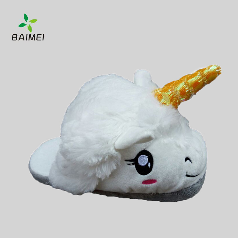 Soft and Keep Warm Half Cover Bedroom Shoes with Cute Unicorn Design