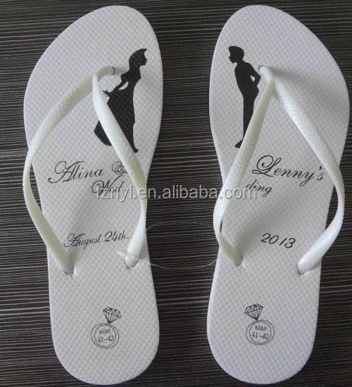 Lady white flip flop for wedding / beach, ladies sandal