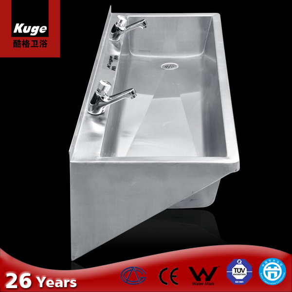 Stainless steel bathroom long wash sink outdoor wash basin