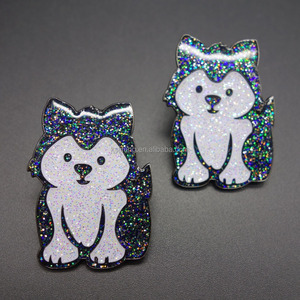 Custom Dog design pins Cartoon pet badges Glitter funny lapel pins