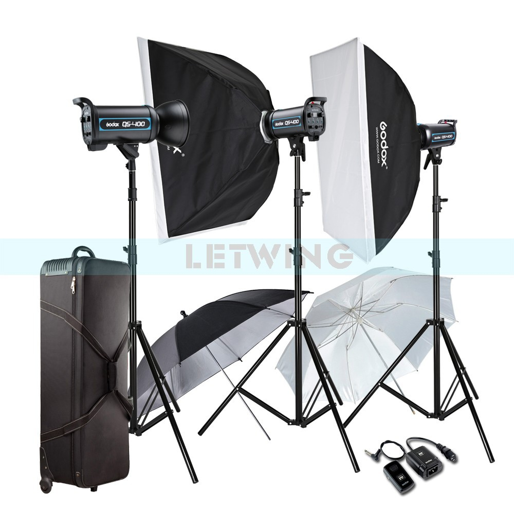 godox 3x 400w professional studio strobe flash light photography lighting kit for wedding. Black Bedroom Furniture Sets. Home Design Ideas