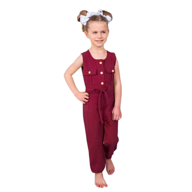 8eaea55834b Sunbona Toddler Baby Boys Girls Pocket Button Romper Bodysuit Sleeveless  Jumpsuit Pants Outfits