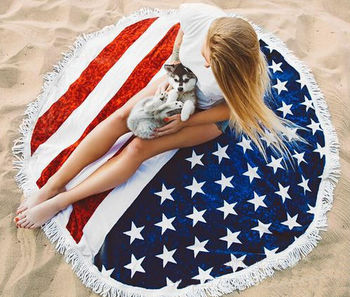 Factory direct tassel cloak american flag printed round beach towel cotton