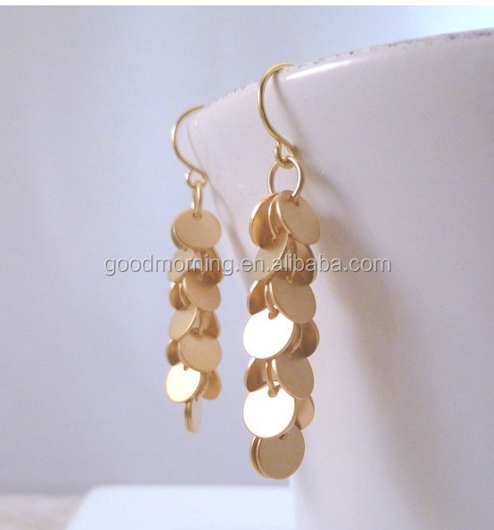 New Fashion Gold Color Copper Sequin Combination Vintage Round Drop Dangle Earrings
