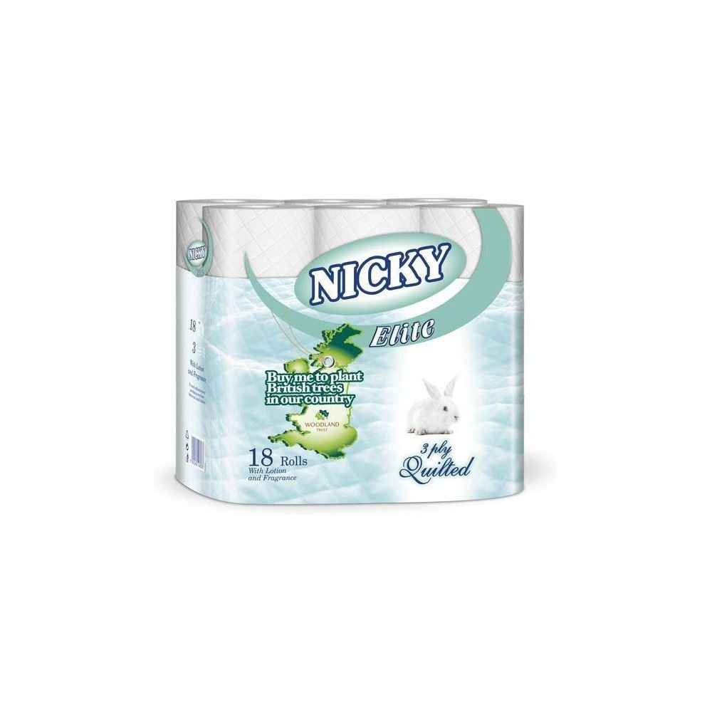 Nicky Elite White 3 Ply Quilted Toilet Rolls (18) - Pack of 2